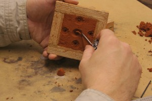 carving out the pouring vent sprue